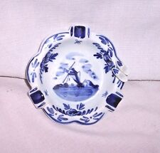 Rare HAND PAINTED Delfts Blauw Holland Ashtray WITH PORCELAIN W DUTCH BOY SHOES