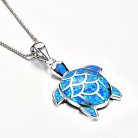 Hot Woman 925 Silver Turtle Jewelry Fire Opal Charm Pendant Necklace Chain