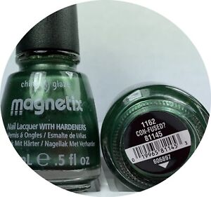 China Glaze Magnetix Nail Polish Con-fused ? 1162 Green Lacquer With Hardeners
