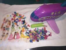 Disney Polly Pocket  LOT w/ DOLLS CLOTHES SHOES ACCESSORIES Big Airplane