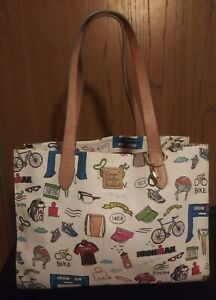 Dooney & Bourke Ironman Triathlon Coated Canvas Leather Shopper Tote Bag