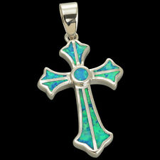 Patonce Cross Ocean Blue Fire Opal Inlay Silver Jewelry Necklace Pendant