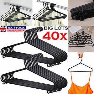 40 x Adult Black Coat Hangers Hanger Coathanger Strong Plastic Clothes Dress Bar