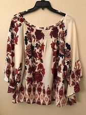 NWT Living Doll Women's Plus 1X Pink Red Blue Peasant Bell Sleeve Smocked Top