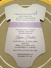 Baby Shower Invitation Purple Lace For Girl Printed on Metallic Paper