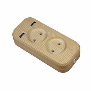 New Extension Socket Charger Double Port Wood Tree Color High Quality Extention