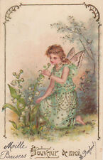 Gold Embossed Fairy In A Meadow Lily Of The Valley Original Antique Art Postcard