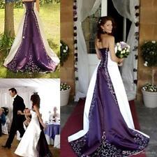 Satin White And Purple Wedding Dresses Medieval Princess Bridal Gown Custom Size