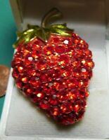 Vintage Warner Red Green Rhinestone Strawberry Brooch Pin Signed Japanned