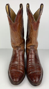 Justin Genuine Alligator Crocodile Cowboy Boot Men US Size 9