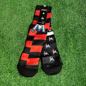 Stance Men's MLB Baseball Miami Marlins Splatter Orange Black Crew Socks M NEW