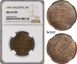 AG822, Palestine, 2 Mils 1941, London, NGC MS65BN
