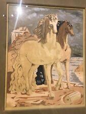 Giorgio De Chirico - Early Lithograph Two Horses Near Shore, Framed Original Sgn