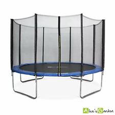 12ft round trampoline with safety enclosure. Saturne - Blue - Garden trampoline