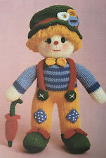 Vintage KNITTING PATTERN Jean Greenhowe Clown Doll Toy Umbrella Hat Clothes RARE