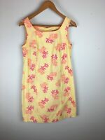 Vintage Lilly Pulitzer Shift Dress S Small Yellow Orange Pink Floral Sleeveless