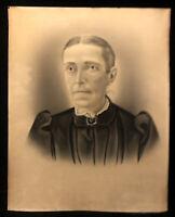 Antique Victorian Charcoal Portrait Old Woman Photograph 20x16