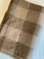Vintage Wool Blanket Plaid Buffalo Checked Reversible HEAVY Warm Brown Tan 82X54