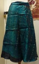 Damas Verde Reciclado Sari envoltura alrededor de la India Falda Pantorrilla (SB-WRP-5)