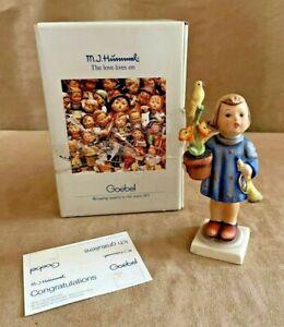 Congratulations Goebel Hummel Figurine #17 girl with box flower & trumpet bird