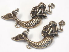 2 - 2 HOLE BEADS, LINKS, CONNECTOR BEADS ANTIQUED BRASS PLATED MERMAID BEADS