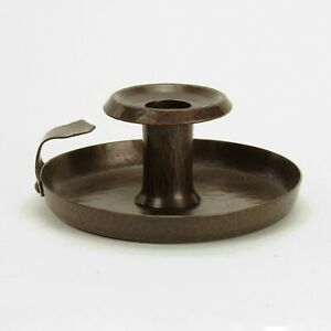 Roycroft shops hammered copper rivet handle candlestick arts & crafts brown