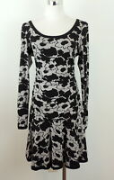 Tracy Reese M Dress Stretch Knit Floral Ruched Drop Waist Flowers