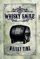 Whisky Flacon Baril Panneau Métallique Plaque Voûté Étain Signer 20 X 30 CM