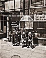 Old Antique Barber Pole Shop Hair Cut Hot Razor Shave Depression Era 1937 Photo