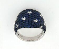 Anello mignolo pave zaffiri blu diamanti Crivelli