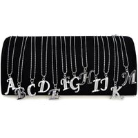 A to Z Initial Letter Name Pendants Necklace Silver Plated Crystal With Chain UK