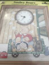 DMC Counted Cross Stitch Clock Kit Smiley Bears inc Fleur de Lys Mechanism
