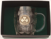 20 Oz. Britannia Beer Mug Brass Shamrock Slainte Medallion Perfect Irish Gift