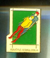 RARE PINS PIN'S .. OLYMPIQUE OLYMPIC ALBERTVILLE 1992 MEDAILLE OR LUGE ~16