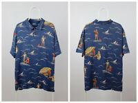 Mens Vintage Polo Ralph Lauren Polo Shirt Surfing Wave 90s Size XL Cotton