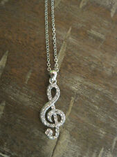 Silver Music Note Necklace - Rhinestone Music Note Necklace - Music Jewelry