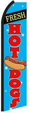 FRESH HOT DOGS Blue Swooper Flag Tall Vertical Feather Bow Swooper Banner Sign