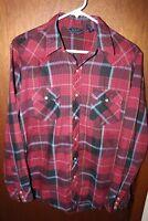 VIP Mens Red Sz Med Plaid Western Pearl Snap Button Down Long Sleeve Dress Shirt
