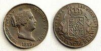 ISABEL II. 25 centimos de Real. 1859. Segovia. Cobre 9,5 g. XF-/EBC-.