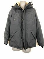 MENS DSTRUCT GREY/ BLUE ZIP UP BUTTON DETAIL HOODED WINTER JACKET COAT SMALL