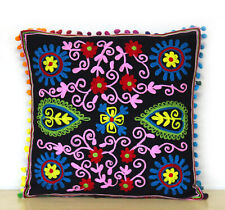 "16"" Suzani Sofa Cushion Cover Decorative Pillows Case Indian Embroidered Throw"