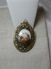 Locket Handpainted Porcelain Miniature Superb Large Antique Belle Epoque c1920
