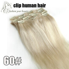 """Full Head 16""""-30"""" 7PCS Clips In Real Human Hair Extensions 80g 100g 120g 140g"""