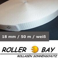 50 m Rolladengurt 18 mm weiss Rolladen Gurt Gurtband  z.B. Fertighaus Rollladen
