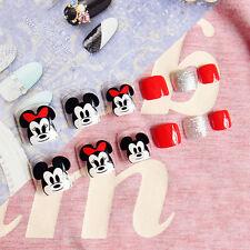 24pcs 3d Disney Cute Mickey Minnie Shimmer French Fake False Toenails Glue