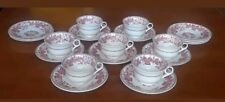 Wedgewood Bramble Pink Center Flower Set of 7 Demi Cups And Saucers Plus Extras