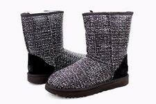 UGG CLASSIC SHORT FRILL SUEDE TWEED BLACK COLOR WOOL BOOTS WOMENS SIZE 8 US