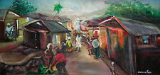 """Village Scene"" by Urlick M. Jean - c. 1998 - Naive Haitian Art - 20 in x 10 in"