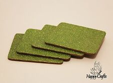 Glitter Drinks Coasters Set of 4 Lime Green