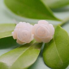 925 Sterling Silver Pink Mother of Pearl Camellia Flower Stud Earrings Gift Box